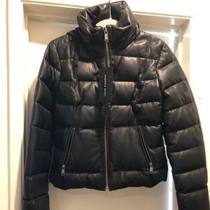 Andrew Marc 100% Black leather jacket with hood